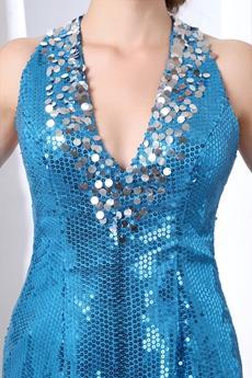 Sexy V-Neckline Mini Length Sparkled Blue Cocktail Dress