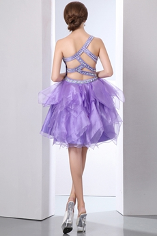 Crossed Straps Back Short Lavender Organza Sweet Sixteen Dress
