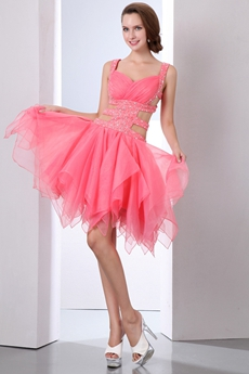 Stunning Double Straps Puffy Organza Watermelon Damas Dress