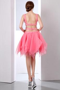 5f0314994a2 ... Stunning Double Straps Puffy Organza Watermelon Damas Dress ...