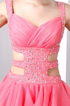 Stunning Double Straps Puffy Organza Watermelon Damas Dress