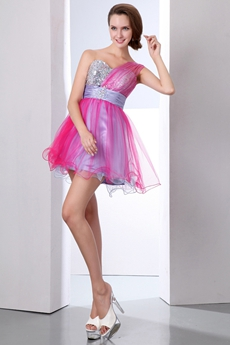 Lovely One Straps Short Puffy Fuchsia & Silver Damas Dress
