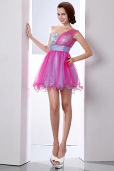 Lovely One Straps Short Puffy Fuchsia & Silver Damas Dress