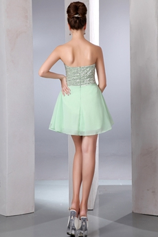 Cute Mini Length Sage Chiffon Graduation Dress For Juniors