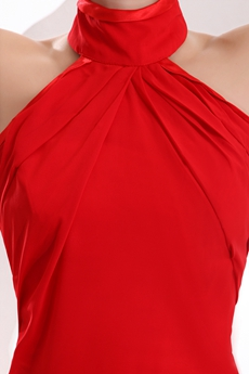 Cheap Halter High Collar Red Evening Dress