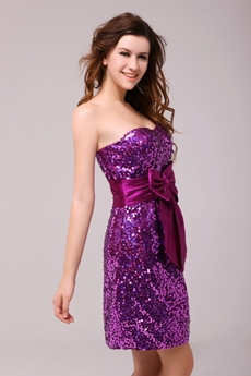 Attractive Mini Length Purple Sparkled Sequined Cocktail Dress