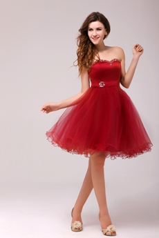Sassy Short Puffy Knee Length Red Sweet Sixteen Dress