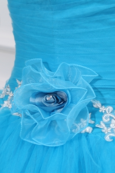 Sassy One Straps Blue Tulle Sweet 15 Dress