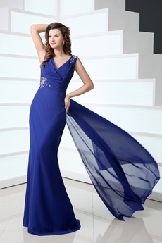 Flattering Column Full Length Royal Blue Mother Of The Bride Dress