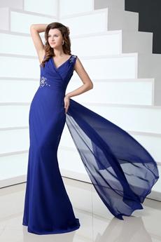 Flattering Column Full Length Royal Blue Mother Of The Bride Dress