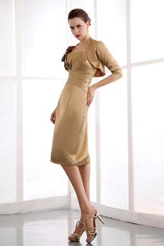 elegant Knee Length Copper Satin Mother Of The Groom Dress With Jacket