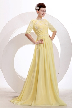 Half Sleeves Halter A-line Full Length Yellow Engagement Evening Dress