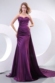 Modest Satin A-line Purple Prom Dress