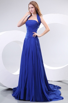 Marvelous Top Halter Royal Blue Formal Evning Dress