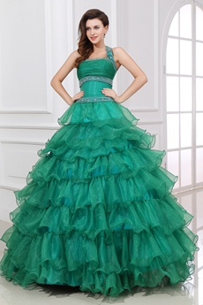 Pretty Halter Dark Green Puffy Organza Quinceanera Dress