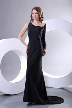 Long Sleeves One Shoulder Black Formal Evening Dress
