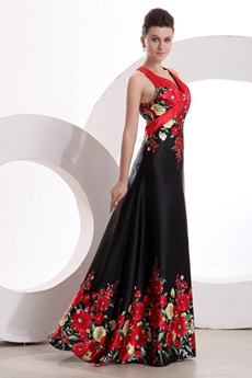 Special Halter Red & Black Printed Evening Maxi Dress