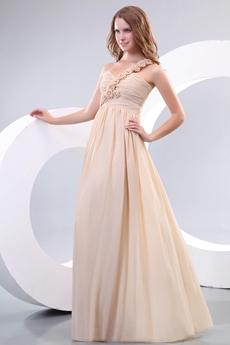 Delicate Floral Single Straps Champagne Chiffon Bridesmaid Dress