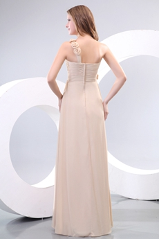 Delicate Floral Single Straps Champagne Chiffon Bridesmaid Dress