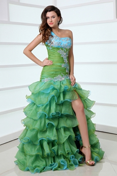 Multi Colored One Straps Green & Blue Organza Quinceanera Dress