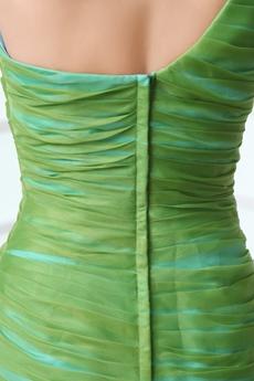 Multi Colored One Straps Green & Blue Organza Quinceanera Dress