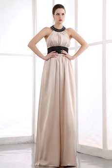 Unique Halter Column Champagne Homecoming Dress