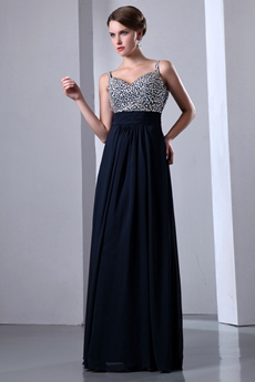 Stunning Jeweled Dark Navy Junior Prom Dress