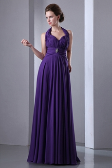 Column Full Length Purple Prom Dress