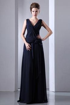 V-Neckline A-line Dark Navy Long Mother Of The Bride Dress
