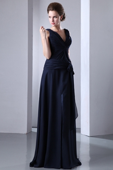 V-Neckline A-line Dark Navy Long Mother Of The Bride Dress