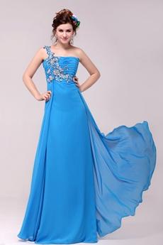 Fantastic One Shoulder A-line Full Length Turquoise Evening Dress