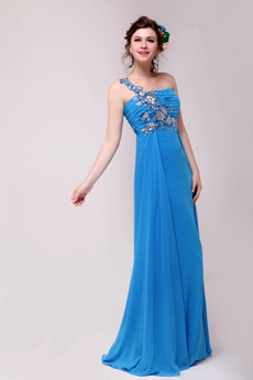 Fantastic One Shoulder A-line Full Length Turquoise Evening Dress