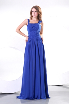 Double Straps Royal Blue Prom Dress With Ruched Bodice