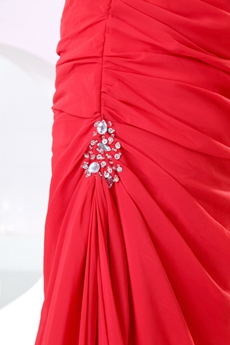 Attractive Top Halter Red Chiffon Celebrity Evening Dress