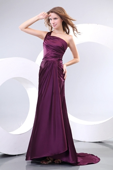 Elegance One Straps Grape Satin Formal Evening Dress