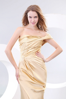 Generous One Shoulder Gold Formal Evening Dress