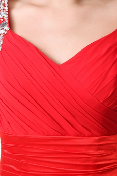 V-Neckline A-line Red Chiffon Formal Evening Dress