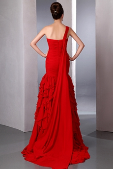 Impressive One Straps Red Chiffon Mermaid Prom Gown