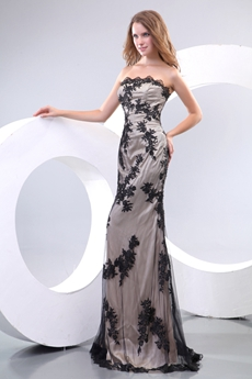 Charming Strapless Black Lace Mother Of The Bride Dress