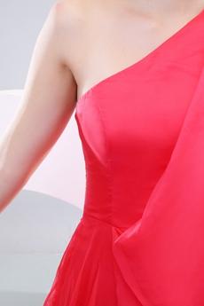 One Shoulder Half Sleeves Watermelon College Graduation Dress