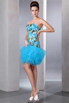 Cute Strapless Mini Length Blue Damas Dress With Sequins