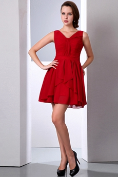 Lovely V-Neckline Dark Red Chiffon High School Graduation Dress