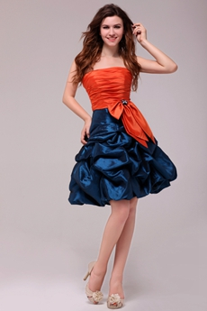 Modern Orange & Royal Blue Mini Length Sweet 16 Dress