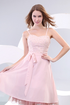 Spaghetti Straps Knee Length Dusty Rose Wedding Guest Dress