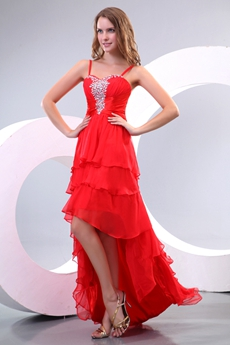 Gothic Spagheti Straps Red High Low Prom Dress