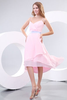 Cute Spaghetti Straps High Low Pink Prom Dress