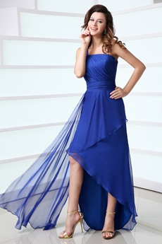 Fantastic Royal Blue High Low Homecoming Dress