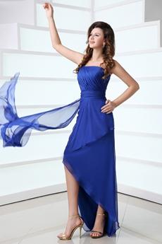 Fantastic Royal Blue High Low Homecoming Dress