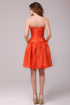 Modern Short Length Orange Satin Junior Bridesmaid Dress