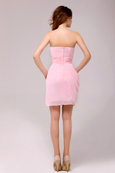 Sheath Mini Length Pink Cocktail Dress With Handmade Flowers